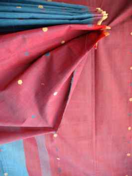 Tri-coloured Buti Blue Saree