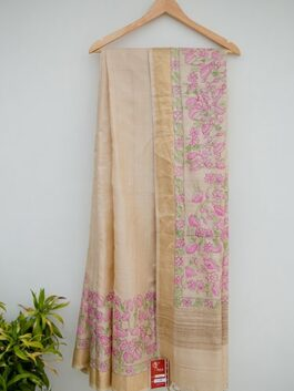 Floral Painted Beige Saree
