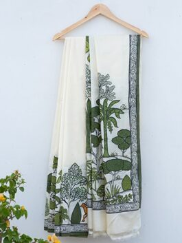 Forest Pattachitra White Saree