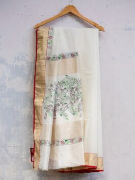 Cream Madhubani Chanderi saree