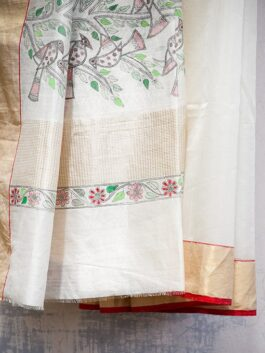 Cream Madhubani Chanderi saree