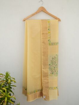Light Yellow Madhubani Chanderi Saree