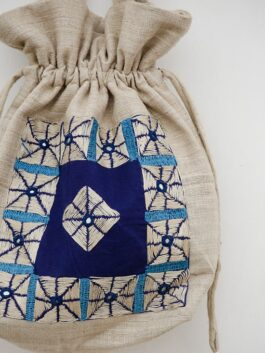 Silk Embroidered Green Potli Bag