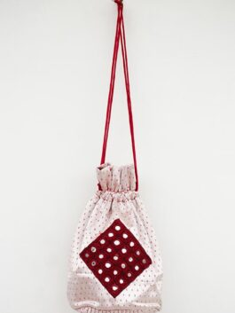 Red Mirrorwork Patched Potli Bag