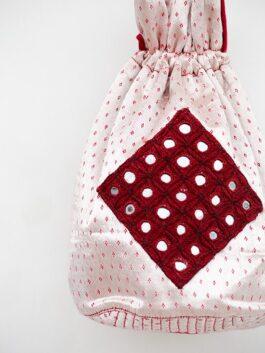 Red Mirrorwork Patched Potli Bag