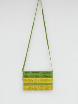 Pleated And Embroidered Green Cotton Bag