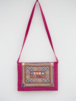 Embroidered & Mirror Work Pink Cotton Bag