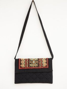Embroidered & Mirror Work Black Cotton Bag