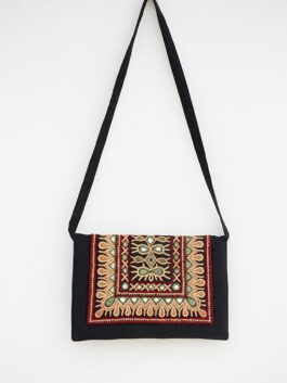 Embroidered & Mirror Work Black Cotton Bag