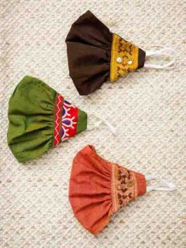 Set of 3 Embroidered Patchwork Mask