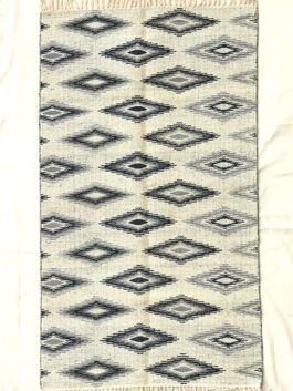 Grey-White Patterned Dhurrie