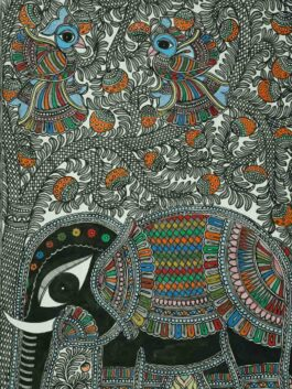 Madhubani  Painted Elephant Nature Tale