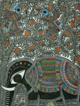 Madhubani  Painted Elephant Nature Tale