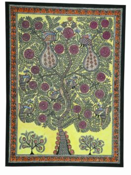 Madhubani Painted Tree of Life with Peacock