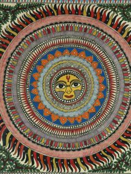 Madhubani Painted Kaleidoscopic Sun