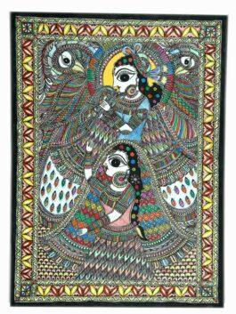 Madhubani Painted Bond of Love Radha & Krishna