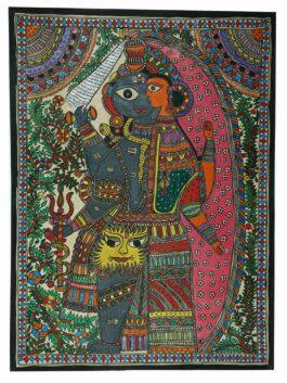 Madhubani Painted Lord Shiva & Parvati