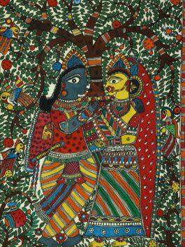 Madhubani Painted The Benevolent Radha & Krishna