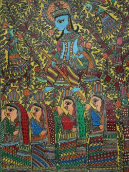 Madhubani Painted Mischievous Krishna