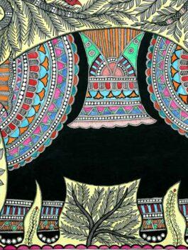 Madhubani Painted Sweet Melody Elephant Art