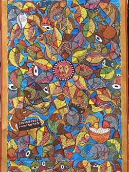Kalighat Painting-  Fishs' Wedding