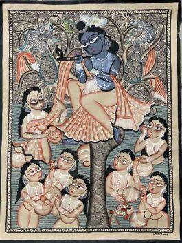 Kalighat Painting- Krishna with Radha & Gopiyan