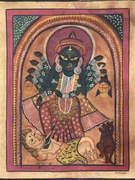 Kalighat Painting- 'Shyama' The Kali Maata