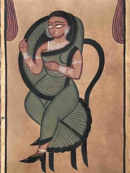 Kalighat Painting- The Queen's Veil