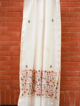 Buti & Scroll Embroidered Chanderi Dupatta