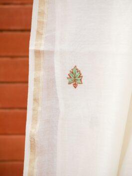 Buti & Scroll Embroidered Chanderi Dupatta
