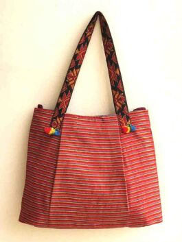 Maroon Woven Striped Tote Bag
