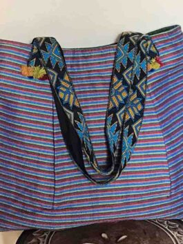 Blue Woven striped T...