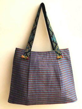 Blue Woven striped Tote Bag