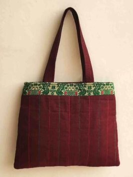 Quilted Maroon Handbag with Border