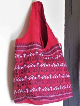 Emroidered Red Hobo Bag